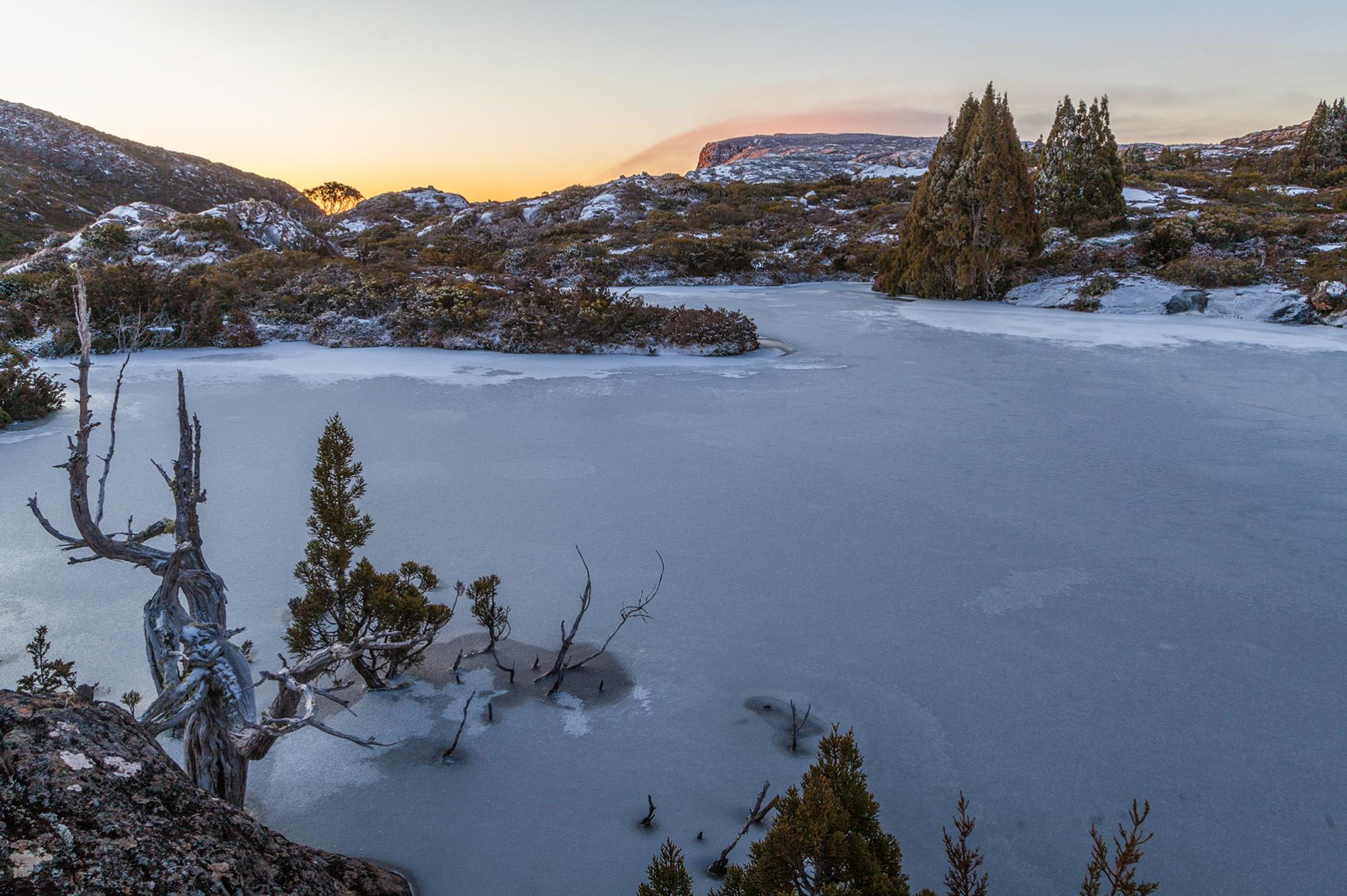 Sunrise over a  frozen lake on the Central Plateau