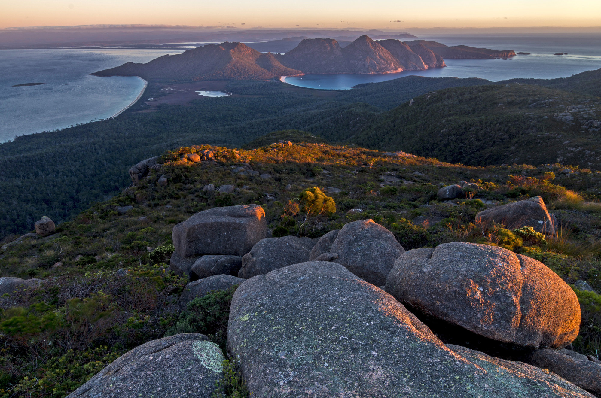 The view over Wineglass Bay from Mount Freycinet, Freycinet National Park
