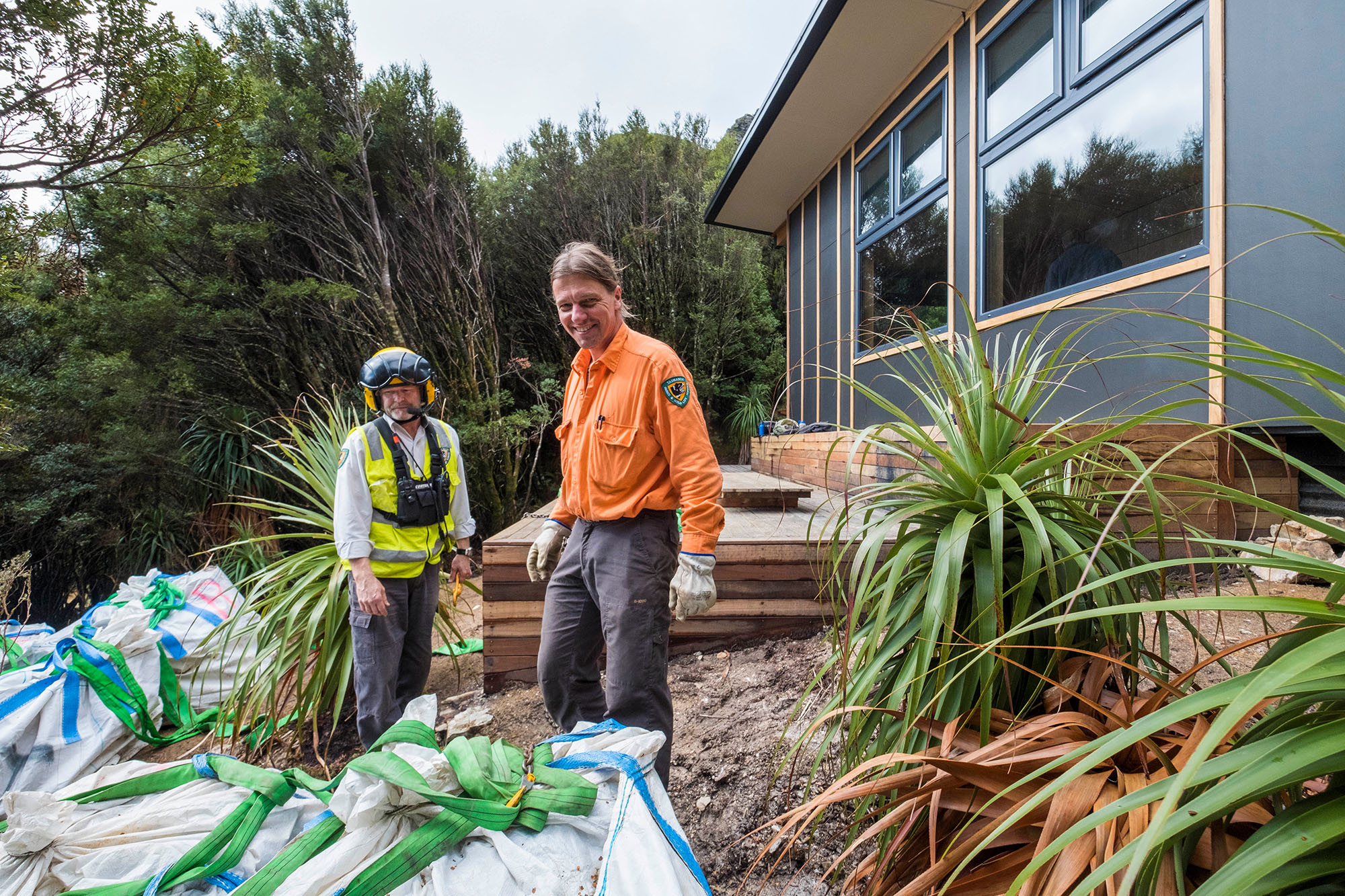 Parks staff members working on the new Tahune hut
