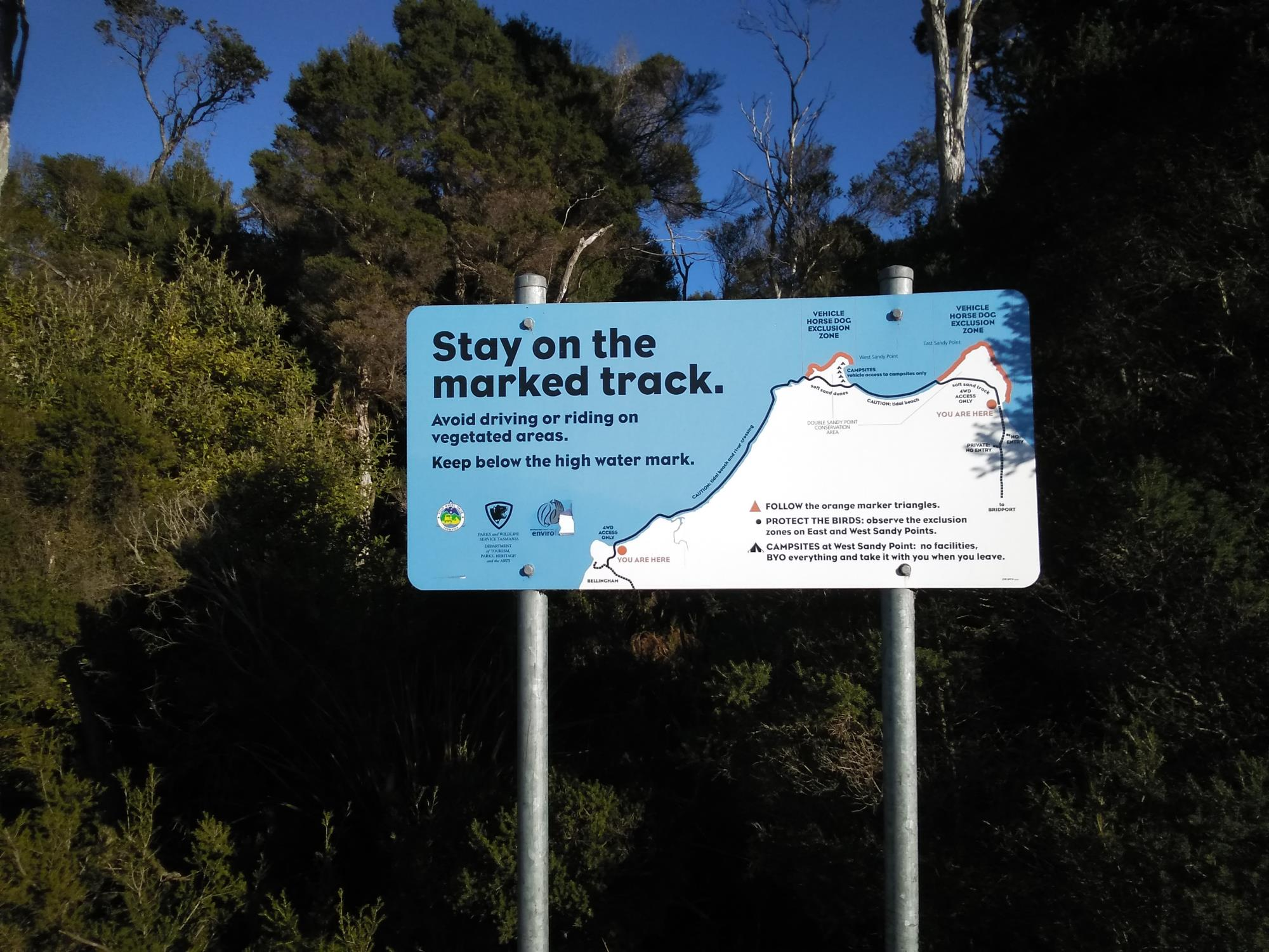 Bridport to Bellingham 4WD traverse sign with basic map and stay on marked track message