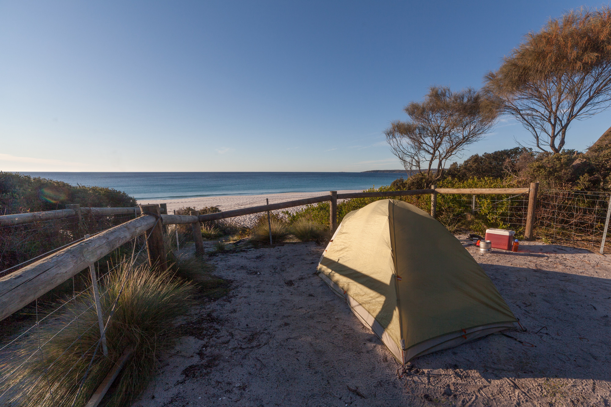 Tent overlooking beach, Bay of Fires Conservation Area
