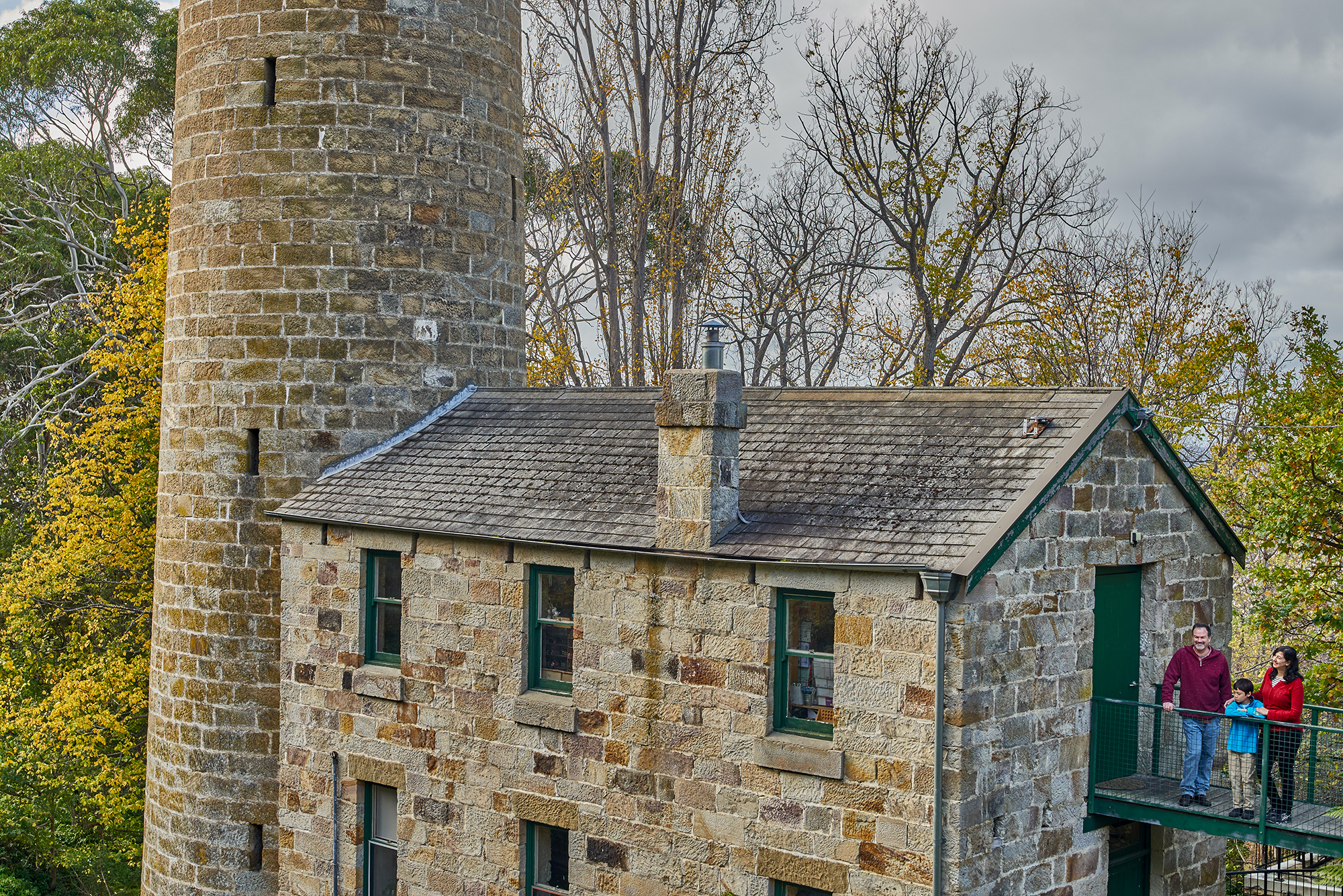 The Shot Tower at Taroona - an old historic sandstone building.