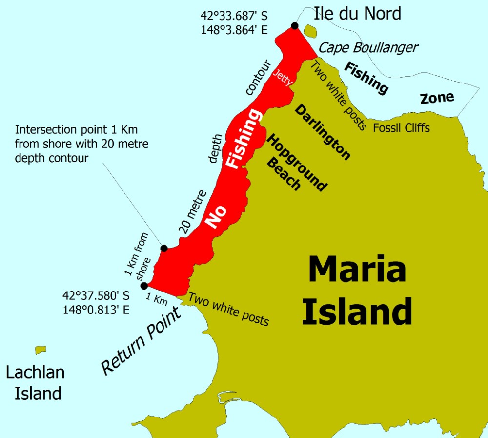 Graphic showing the area of the Maria Island Marine Reserve on Tasmania's East Coast