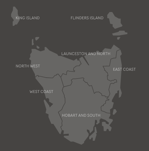 Map of tourism regions of Tasmania
